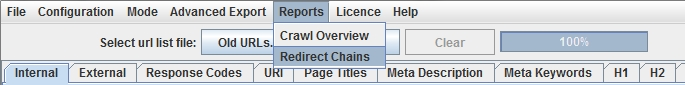 redirect chains report