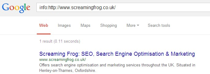 screaming frog info command