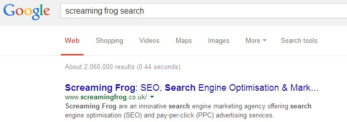 screaming frog search query