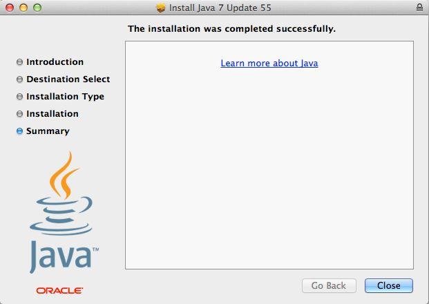 java 7 installation complete