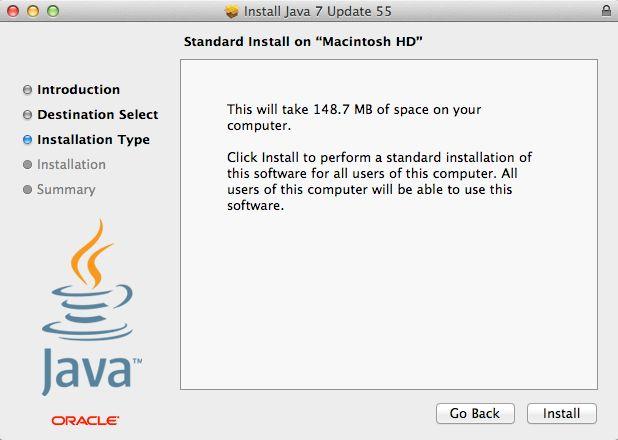 standard java 7 install