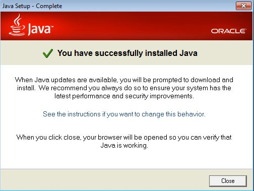 wahey java 7 has installed on your windows machine!