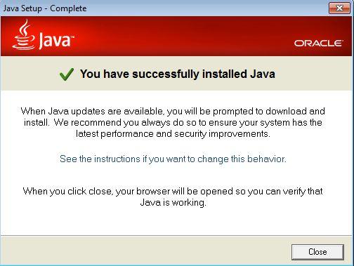 wahey java 7 has installed on your windows machine!