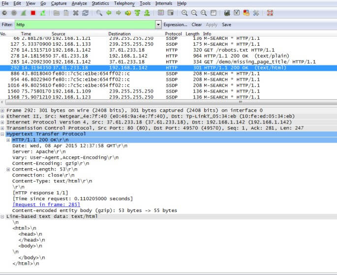 seo spider http response with wireshark