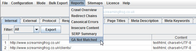 Google Analytics Not Matched Report
