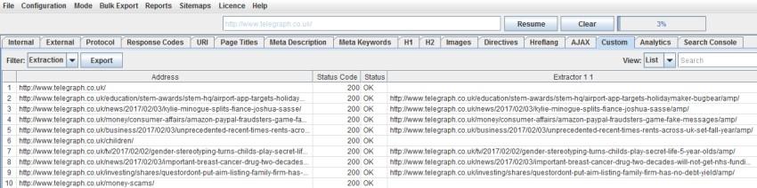 AMP URLs custom extraction