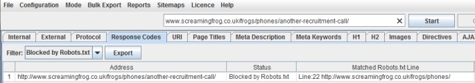 URLs blocked by robots.txt