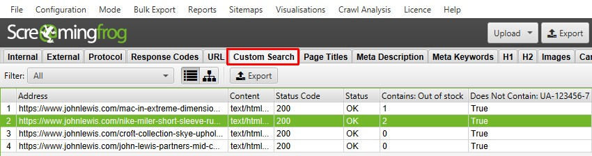 Custom Search Tab