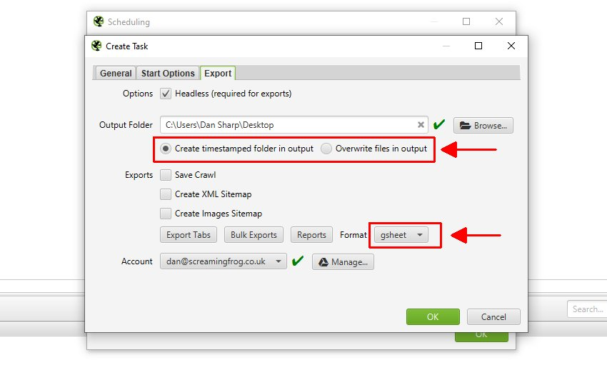 Exporting Google Sheets with Scheduling