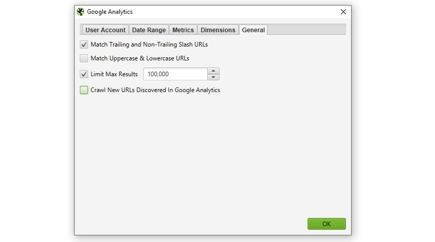 Google Analytics General Config