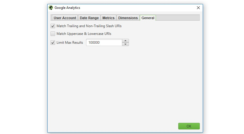 Google Analytics general settings