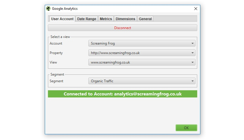 Google Analytics user account