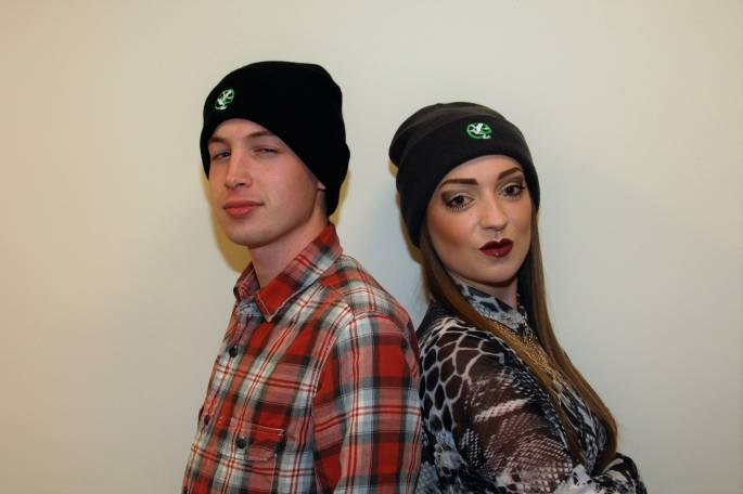 screaming frog beanies modelled by Lucy & Olli