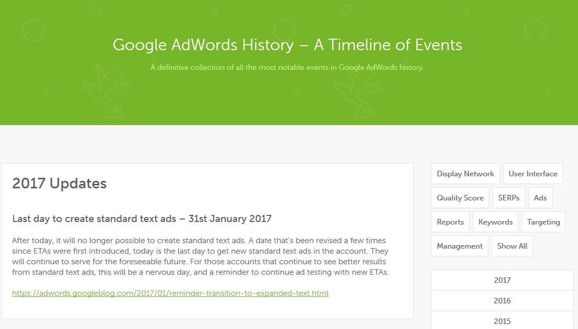 Google AdWords History - A Timeline of Events | Screaming Frog