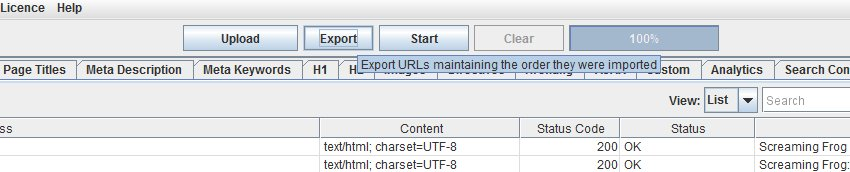 Maintain list order export