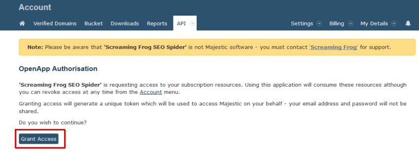 Majestic API grant access