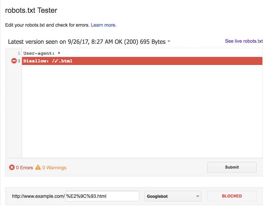 google search console robots txt tester inconsistencies screaming frog