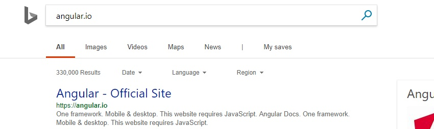 Angular.io In Bing