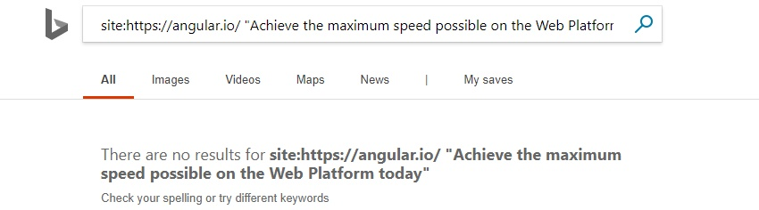 Angular.io content not indexed in Bing