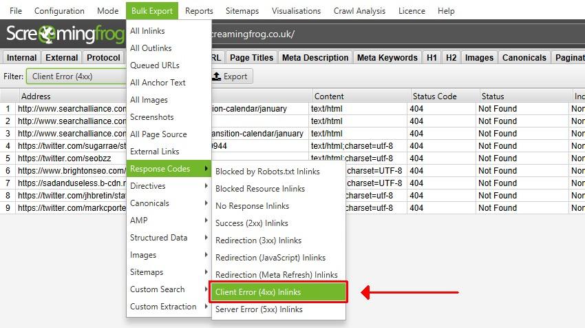 Bulk Export Broken Links & Source Pages
