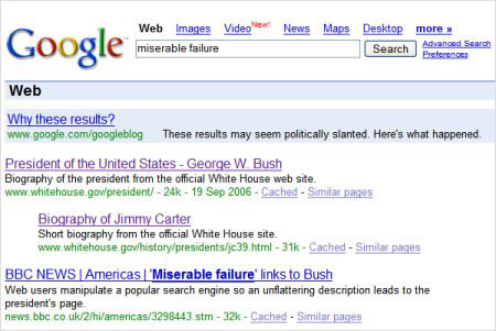 george bush miserable failure google bomb