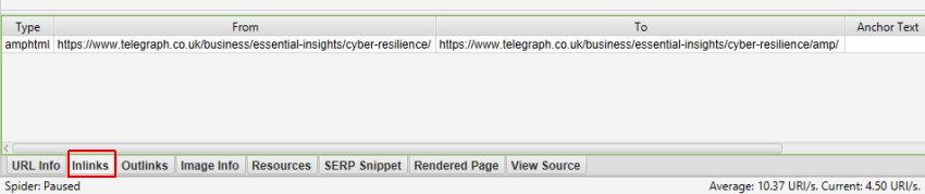 AMP URLs Inlinks Close Up