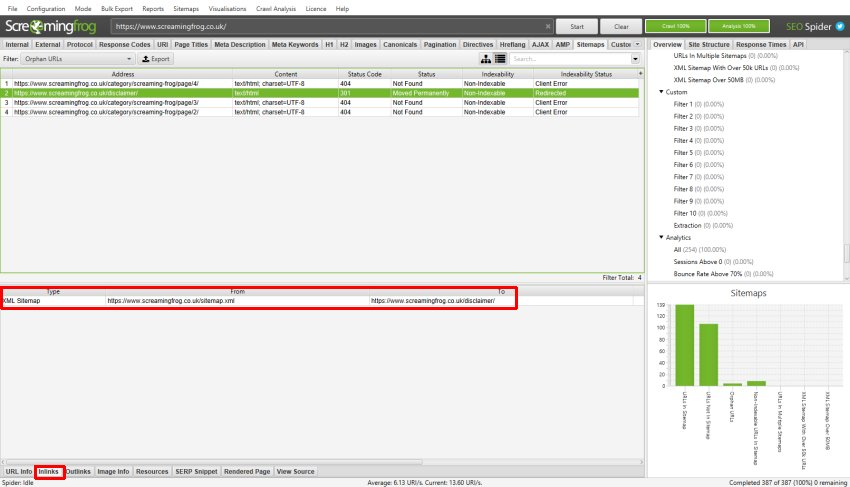 XML Sitemap Inlinks