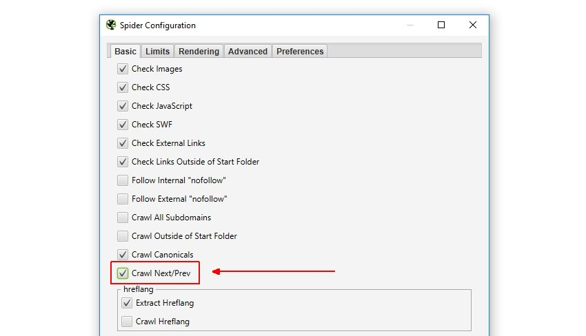 select to crawl pagination attributes