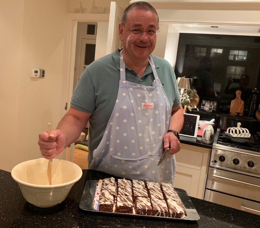 graeme pretending to bake