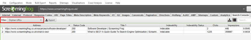 orphan urls search console