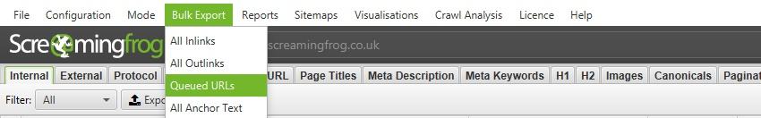 queued URLs export