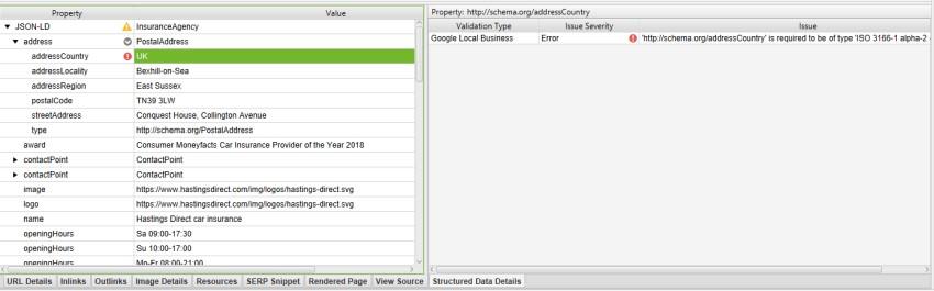 Structured Data Details Tab Error!