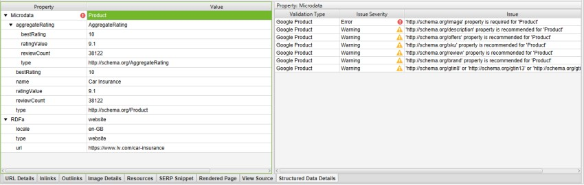 Structured Data Details tab