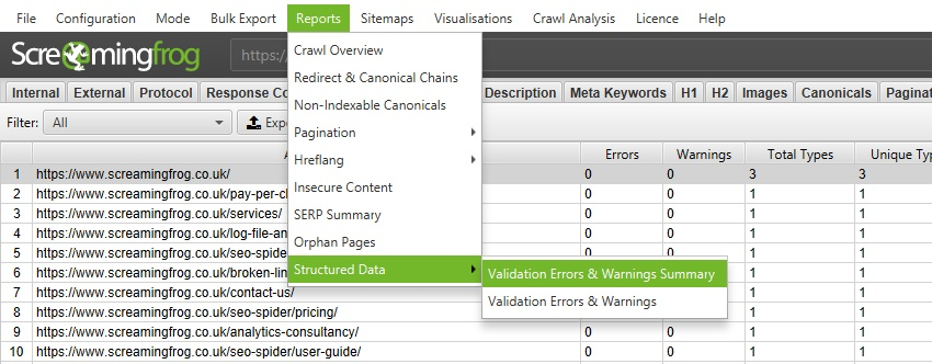 Structured Data Validation Error & Warning Reports