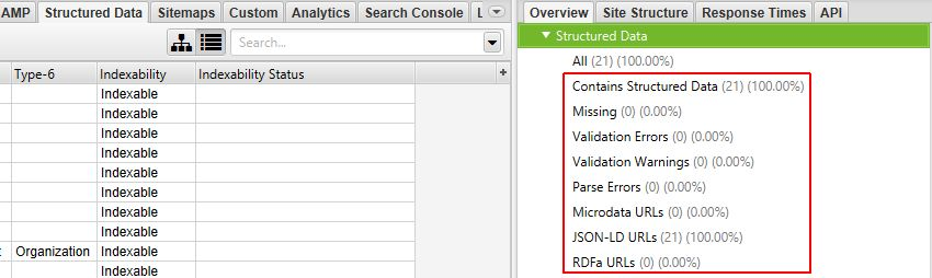 Structured Data Right Hand Overview Pane