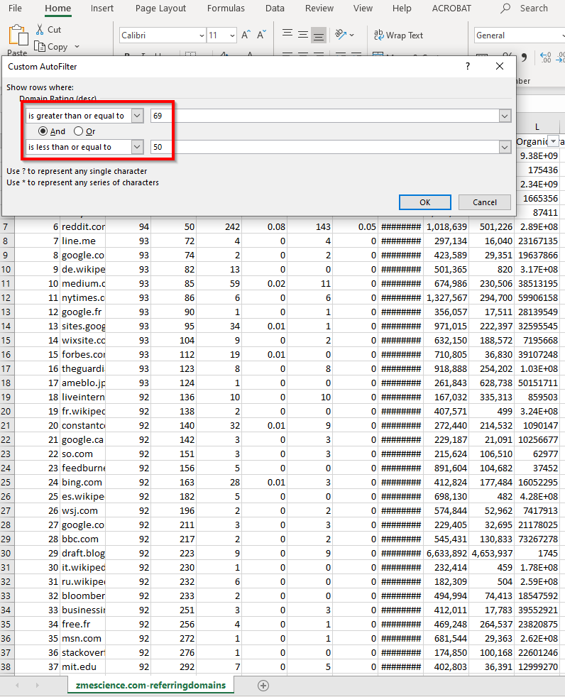 Referring domains CSV export