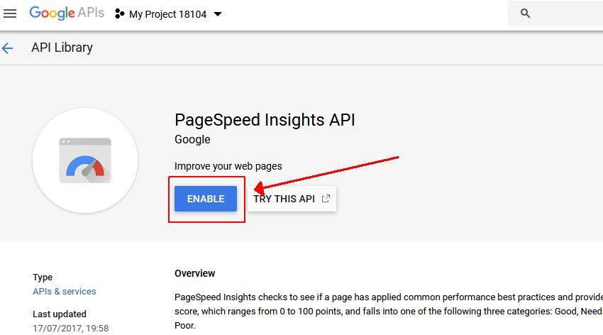 Enable PageSpeed Insights
