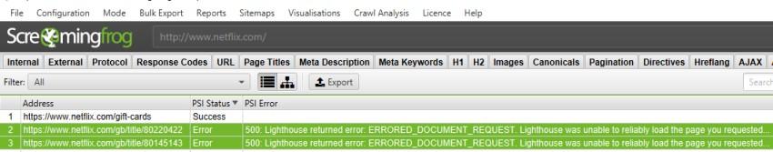 PSI Error Status