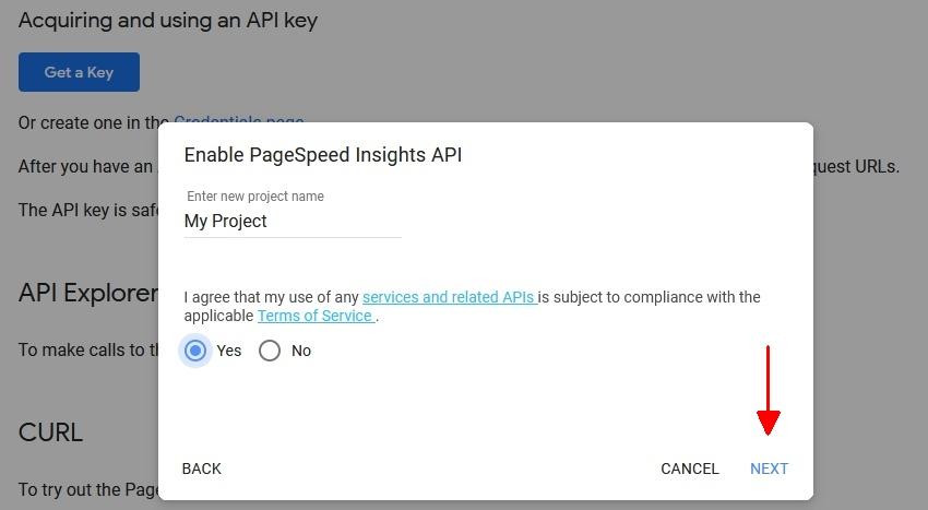 PSI API Key Step 1