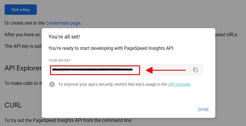 PSI API Key Step 2