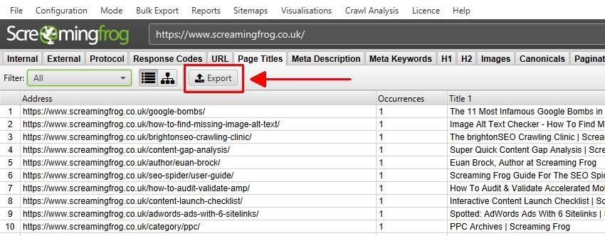 Export tabs & filters