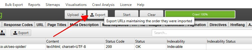 Export URLs in same order uploaded