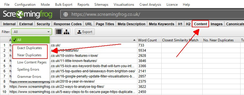 Content Tab & Duplicate Content Filters