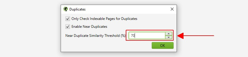 Refine Near Duplicate Content Threshold