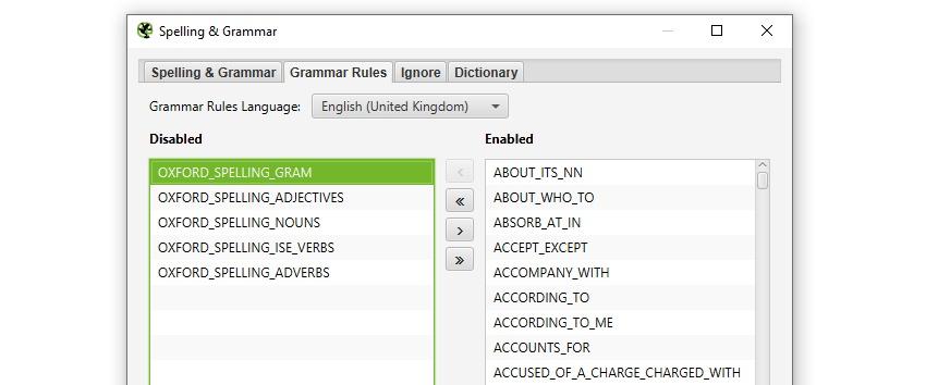Spelling & Grammar Config