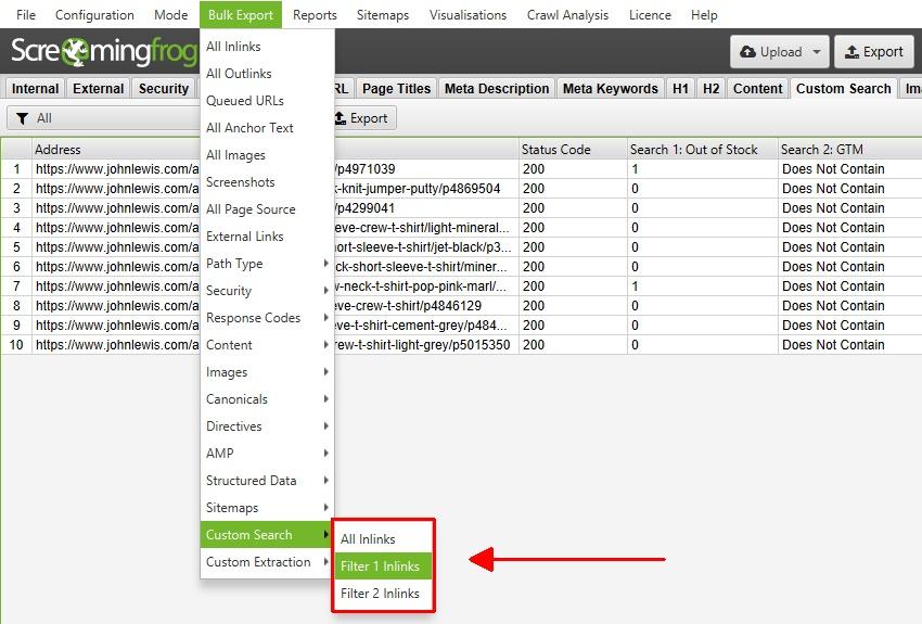 Custom Search Bulk Exporting