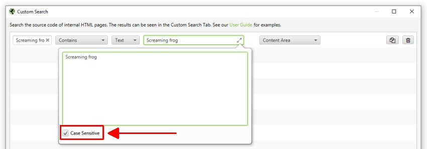 Case Sensitivity with Custom Search