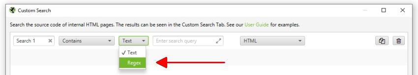 Custom search regex