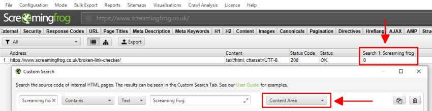 Custom search using content area