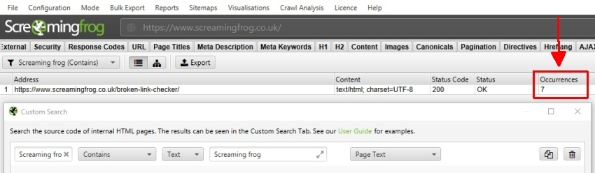 Screaming frog custom search